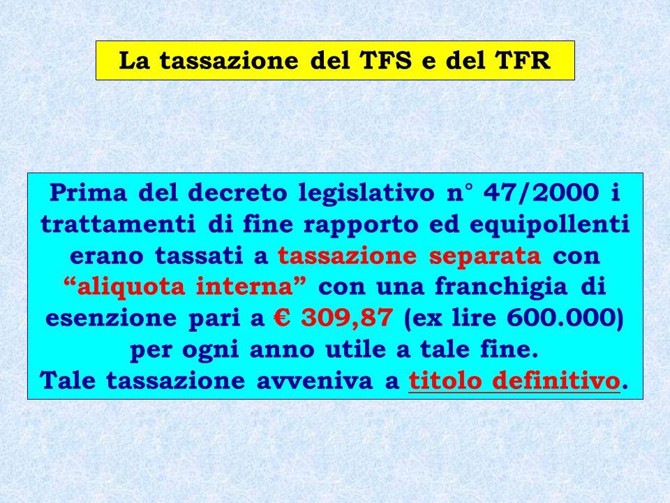 La tassazione del TFS e del TFR