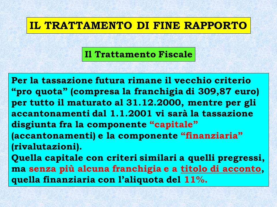 IL TRATTAMENTO DI FINE RAPPORTO Il Trattamento Fiscale