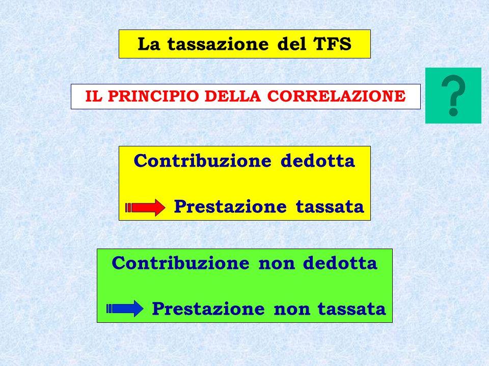 Contribuzione dedotta Prestazione tassata