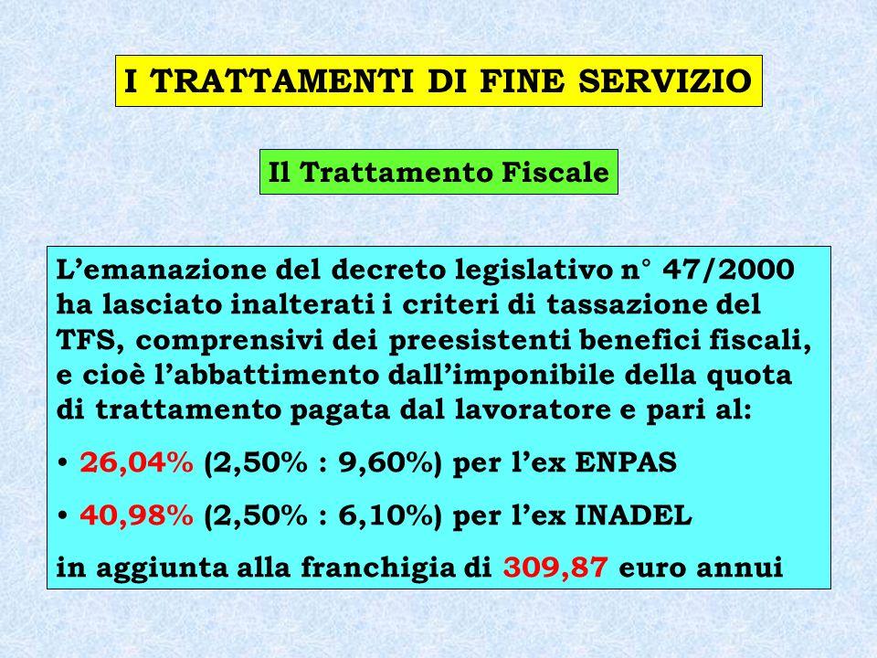 I TRATTAMENTI DI FINE SERVIZIO Il Trattamento Fiscale