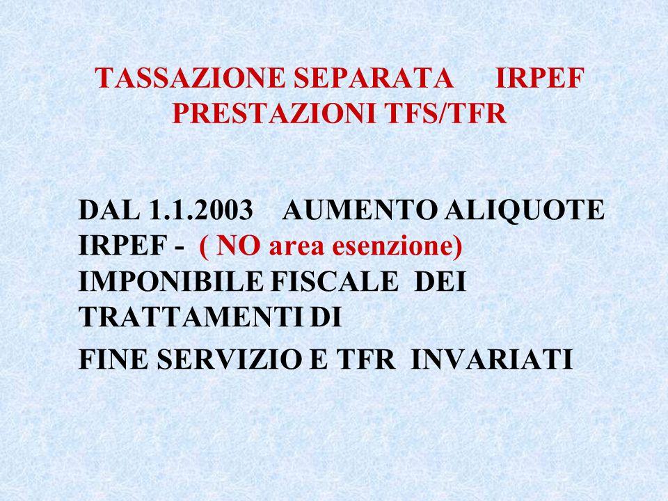 TASSAZIONE SEPARATA IRPEF PRESTAZIONI TFS/TFR