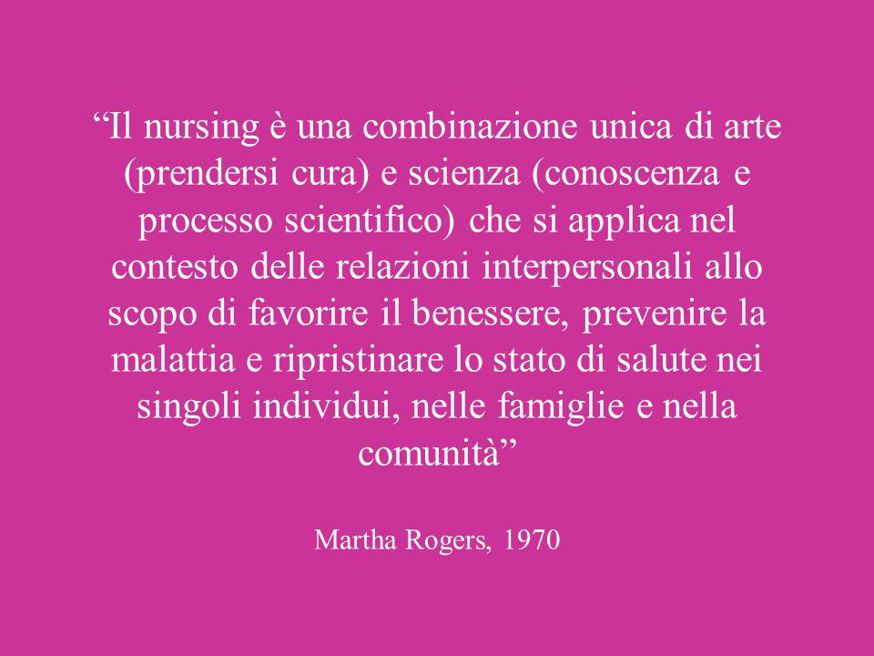 Il nursing è una combinazione unica di arte (prendersi cura) e scienza (conoscenza e processo scientifico) che si applica nel contesto delle relazioni interpersonali allo scopo di favorire il benessere, prevenire la malattia e ripristinare lo stato di salute nei singoli individui, nelle famiglie e nella comunità Martha Rogers, 1970