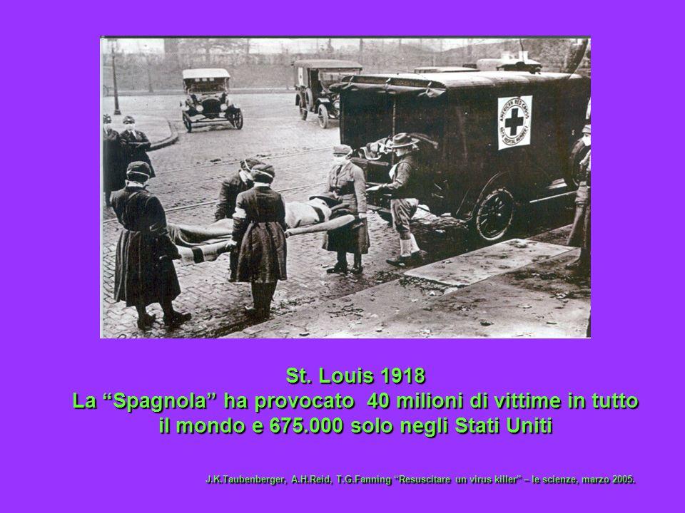St. Louis 1918 La Spagnola ha provocato 40 milioni di vittime in tutto il mondo e 675.000 solo negli Stati Uniti.