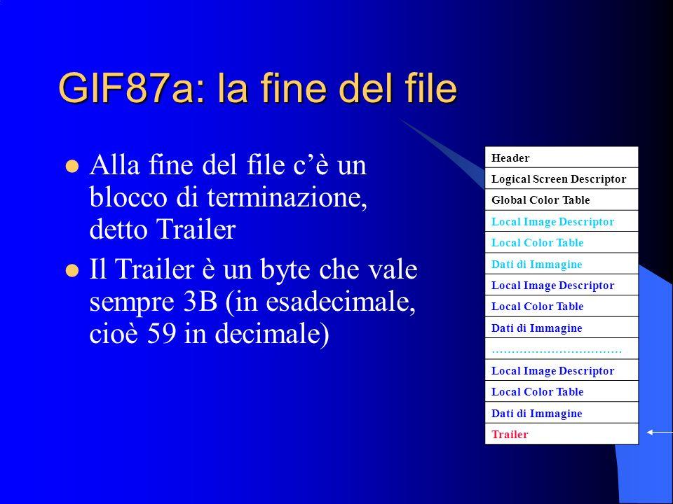 GIF87a: la fine del fileAlla fine del file c'è un blocco di terminazione, detto Trailer.