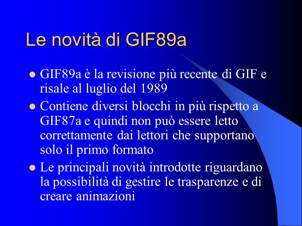 Le novità di GIF89a GIF89a è la revisione più recente di GIF e risale al luglio del 1989.