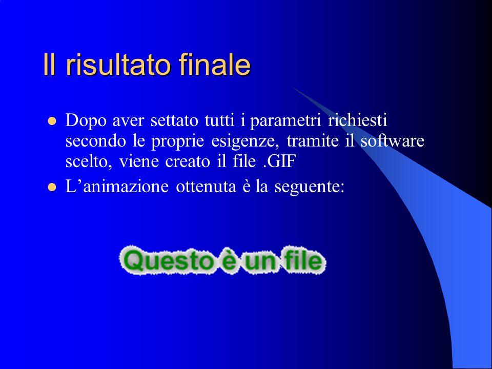 Il risultato finaleDopo aver settato tutti i parametri richiesti secondo le proprie esigenze, tramite il software scelto, viene creato il file .GIF.