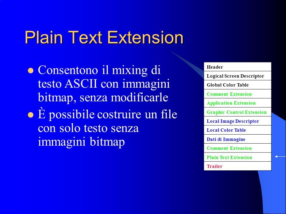 Plain Text Extension Consentono il mixing di testo ASCII con immagini bitmap, senza modificarle.