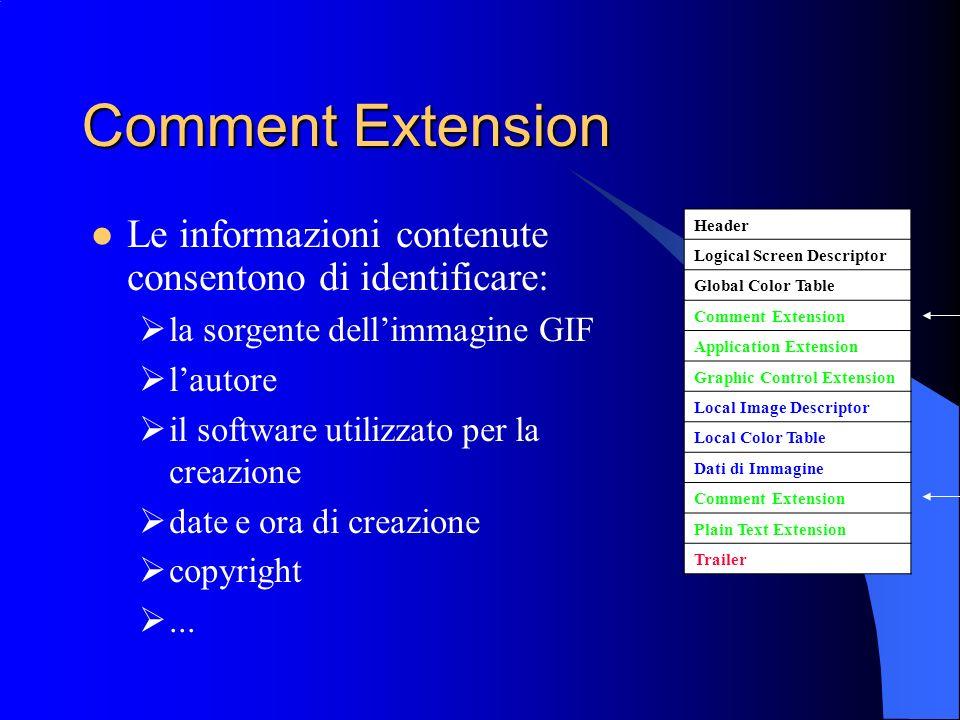 Comment Extension Le informazioni contenute consentono di identificare: la sorgente dell'immagine GIF.