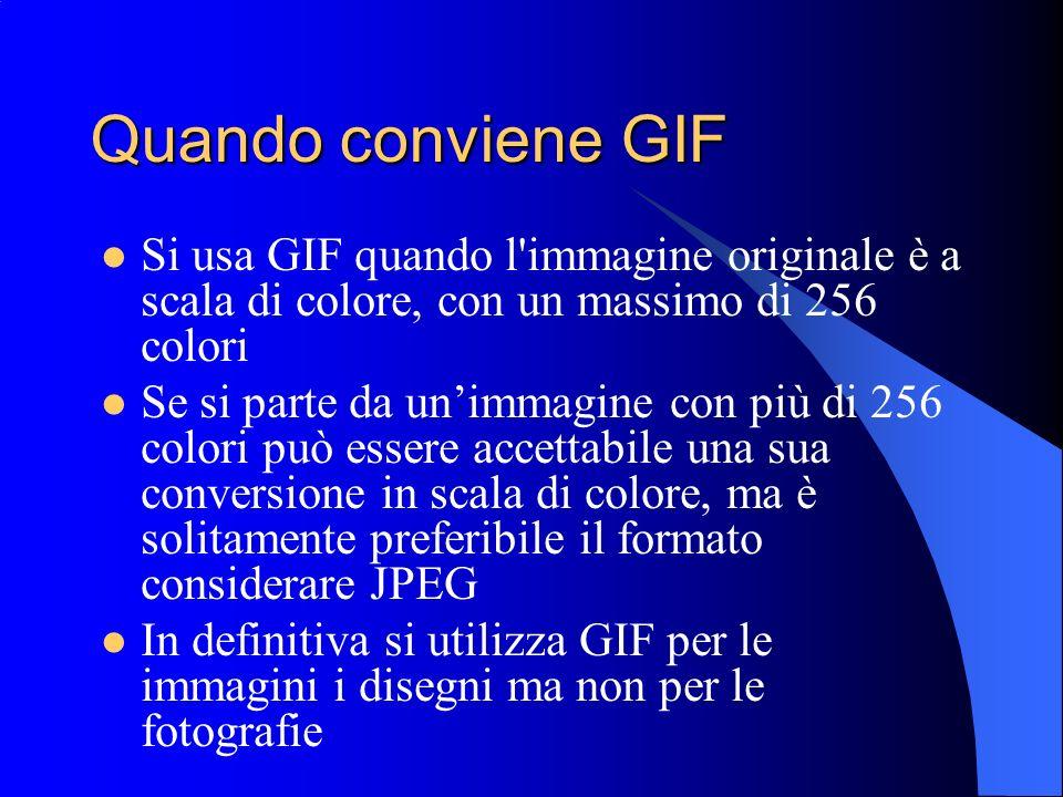 Quando conviene GIFSi usa GIF quando l immagine originale è a scala di colore, con un massimo di 256 colori.