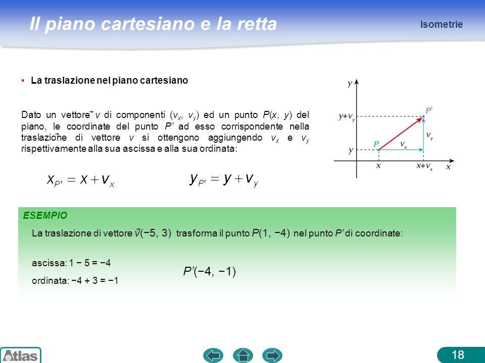 P'(−4, −1) Isometrie La traslazione nel piano cartesiano