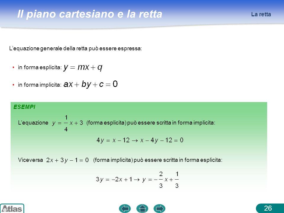 La retta L'equazione generale della retta può essere espressa: in forma esplicita: in forma implicita: