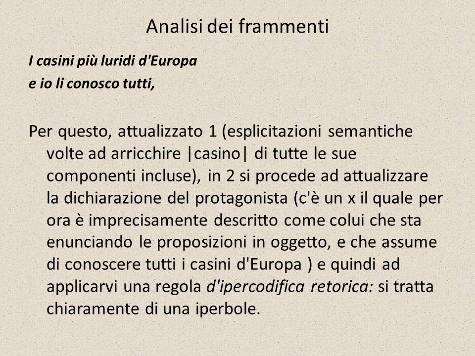 Analisi dei frammenti I casini più luridi d Europa. e io li conosco tutti,