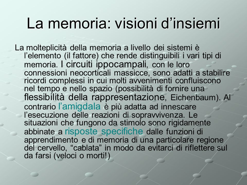 La memoria: visioni d'insiemi