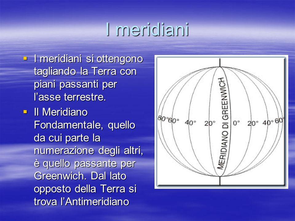 I meridiani I meridiani si ottengono tagliando la Terra con piani passanti per l'asse terrestre.