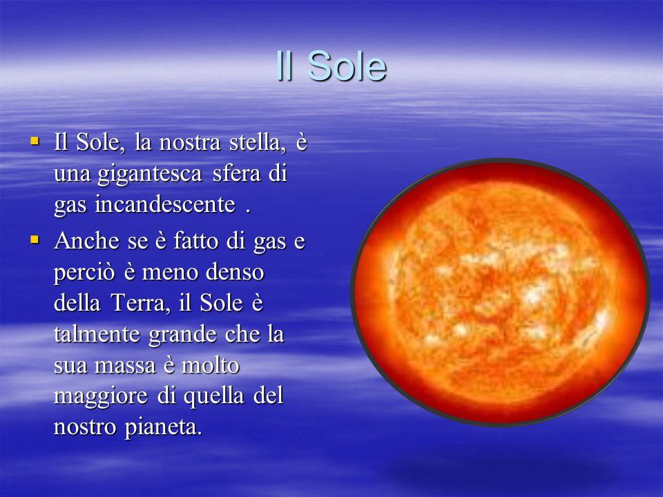 Il Sole Il Sole, la nostra stella, è una gigantesca sfera di gas incandescente .