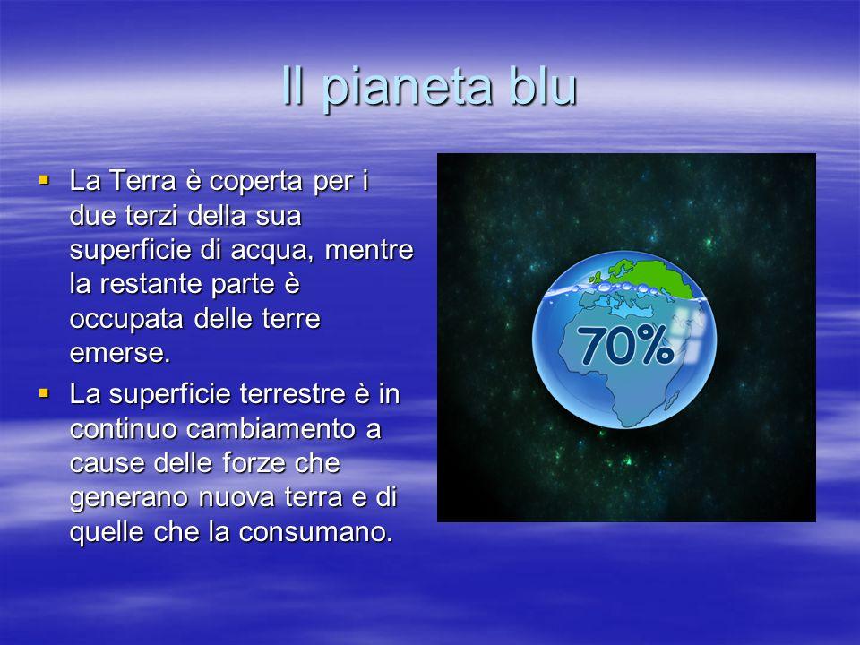 Il pianeta blu La Terra è coperta per i due terzi della sua superficie di acqua, mentre la restante parte è occupata delle terre emerse.