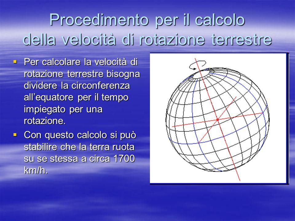 Procedimento per il calcolo della velocità di rotazione terrestre