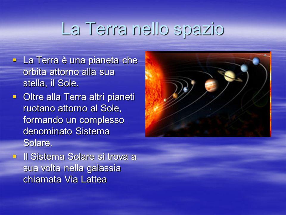 La Terra nello spazio La Terra è una pianeta che orbita attorno alla sua stella, il Sole.