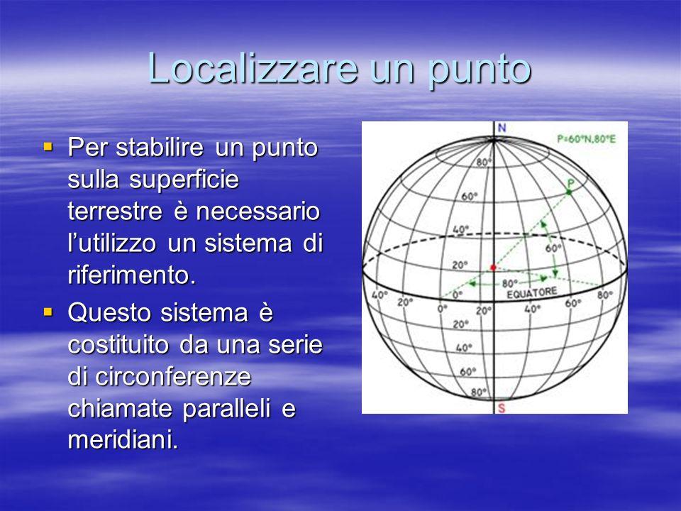 Localizzare un punto Per stabilire un punto sulla superficie terrestre è necessario l'utilizzo un sistema di riferimento.