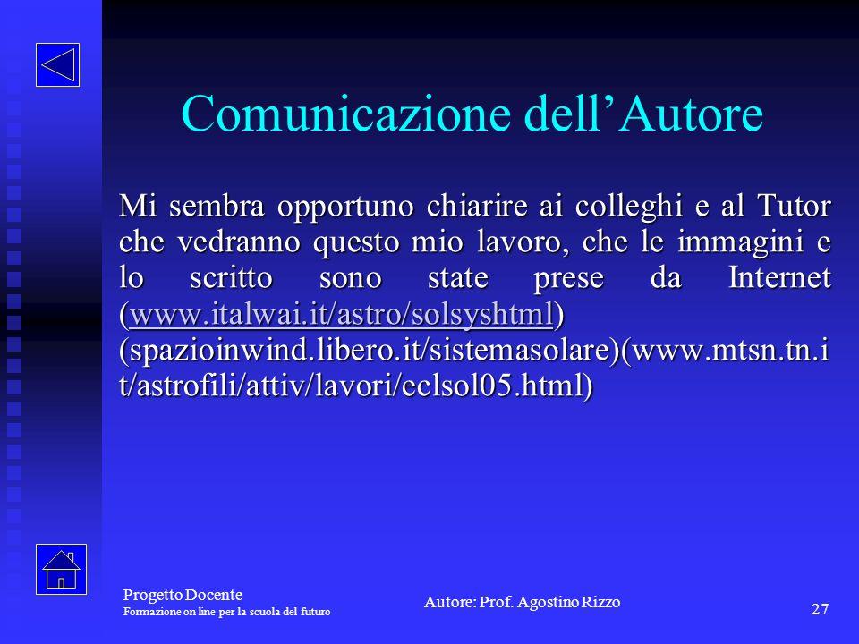 Comunicazione dell'Autore