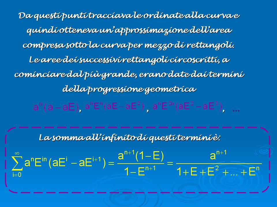 Da questi punti tracciava le ordinate alla curva e quindi otteneva un'approssimazione dell'area compresa sotto la curva per mezzo di rettangoli. Le aree dei successivi rettangoli circoscritti, a cominciare dal più grande, erano date dai termini della progressione geometrica
