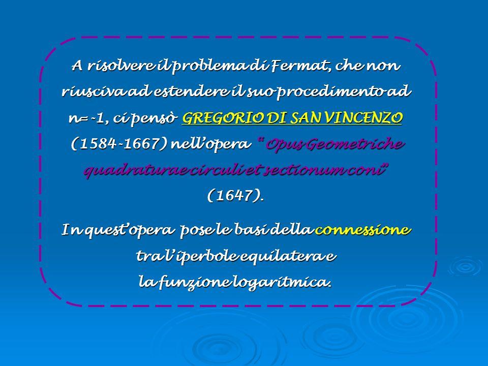A risolvere il problema di Fermat, che non riusciva ad estendere il suo procedimento ad n=-1, ci pensò GREGORIO DI SAN VINCENZO (1584-1667) nell'opera Opus Geometriche quadraturae circuli et sectionum coni (1647).