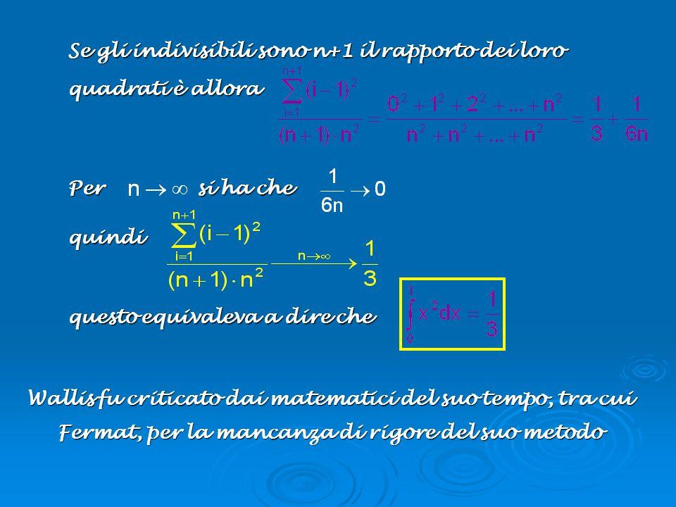 Se gli indivisibili sono n+1 il rapporto dei loro quadrati è allora