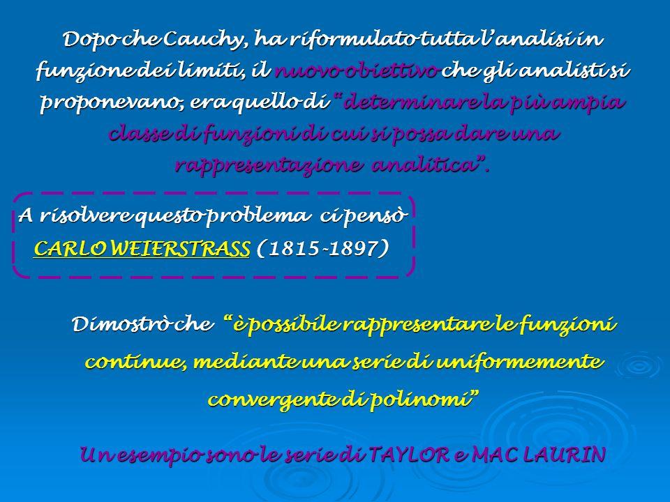 A risolvere questo problema ci pensò CARLO WEIERSTRASS (1815-1897)