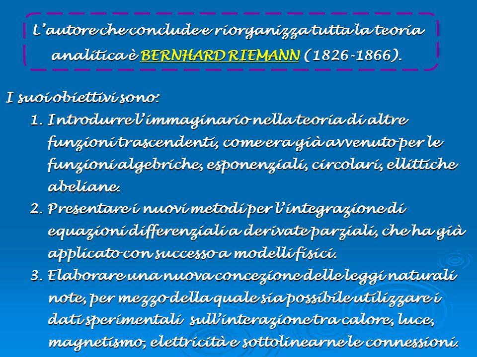 L'autore che conclude e riorganizza tutta la teoria analitica è BERNHARD RIEMANN (1826-1866).