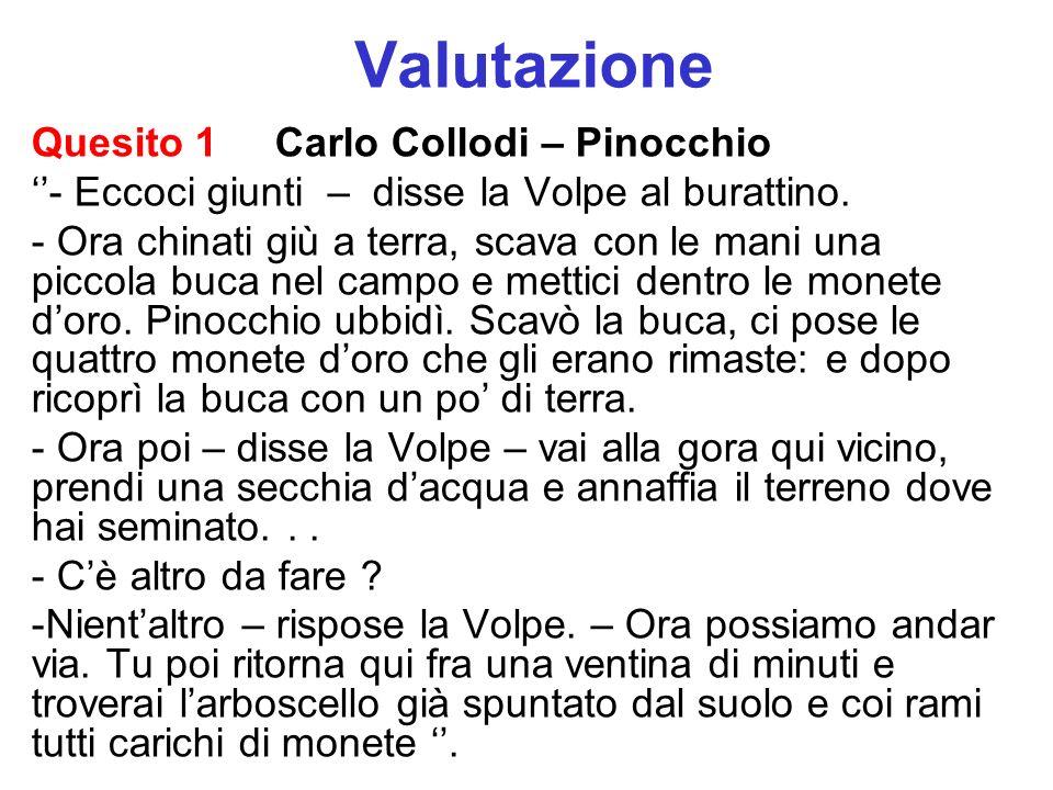 Valutazione Quesito 1 Carlo Collodi – Pinocchio
