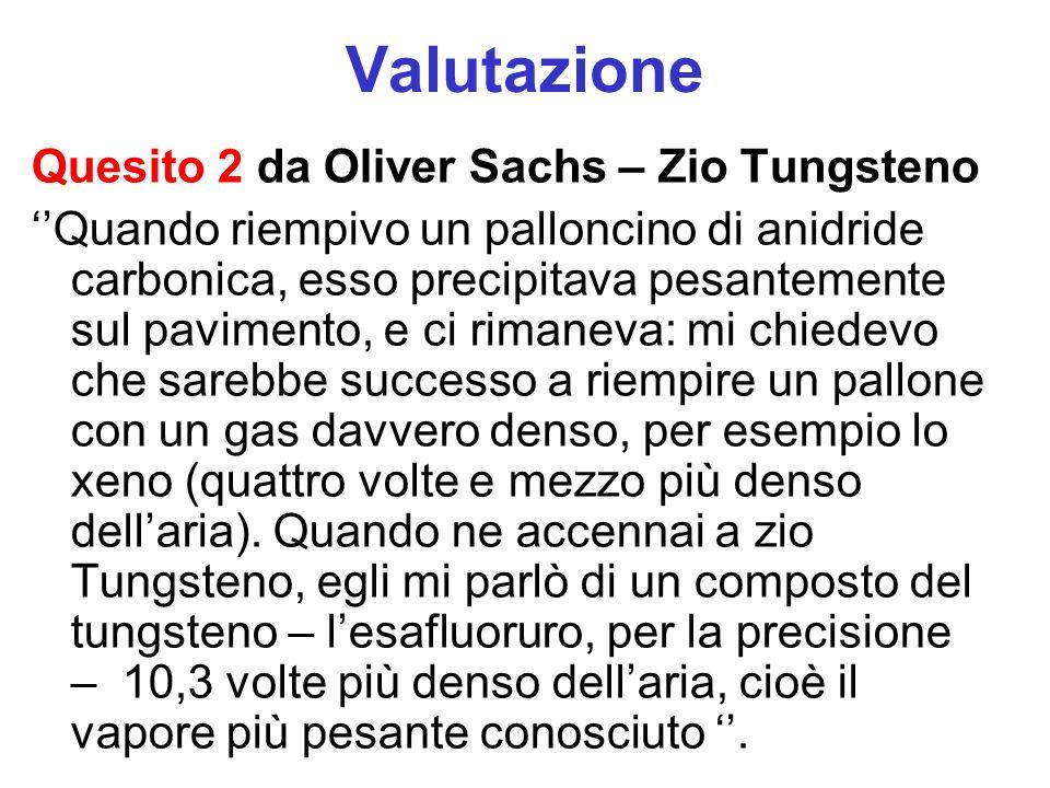 Valutazione Quesito 2 da Oliver Sachs – Zio Tungsteno