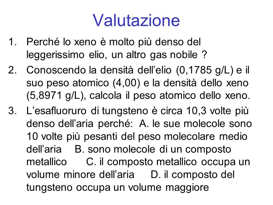 Valutazione Perché lo xeno è molto più denso del leggerissimo elio, un altro gas nobile