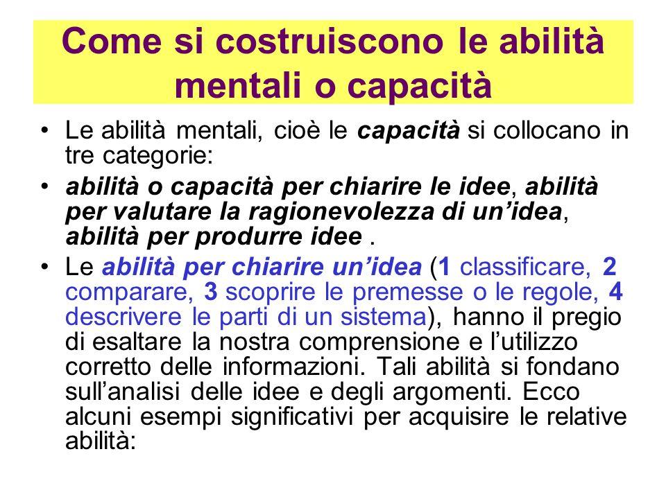 Come si costruiscono le abilità mentali o capacità