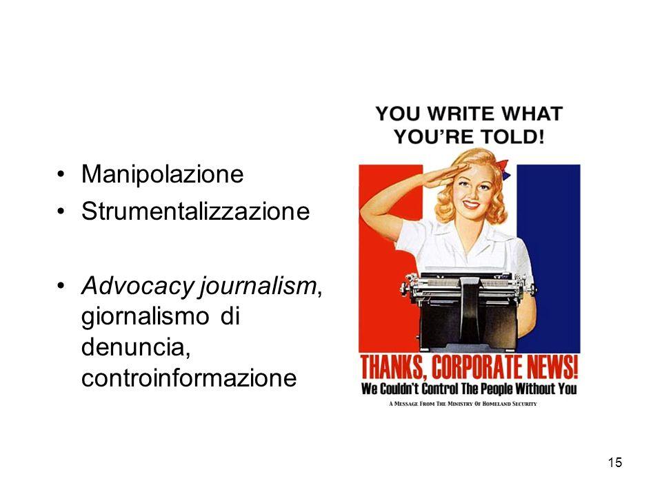 Manipolazione Strumentalizzazione Advocacy journalism, giornalismo di denuncia, controinformazione