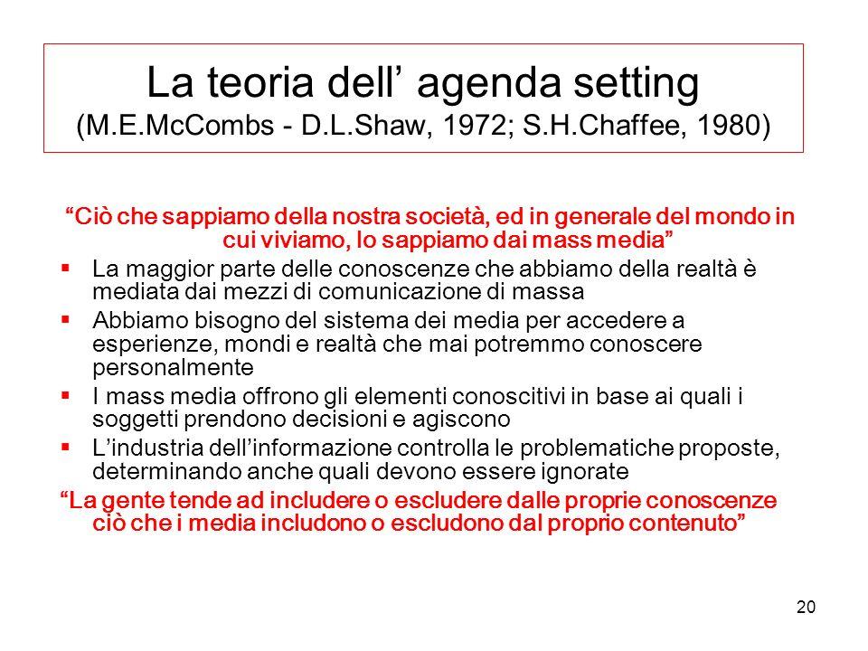 La teoria dell' agenda setting (M. E. McCombs - D. L. Shaw, 1972; S. H