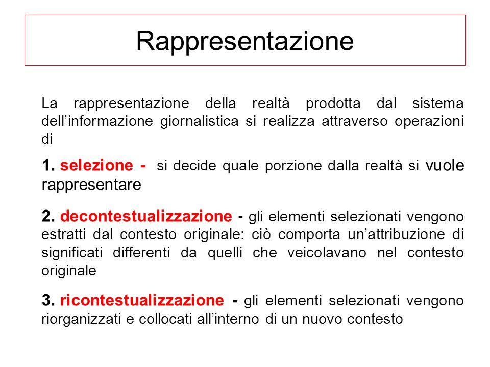 Rappresentazione La rappresentazione della realtà prodotta dal sistema dell'informazione giornalistica si realizza attraverso operazioni di.