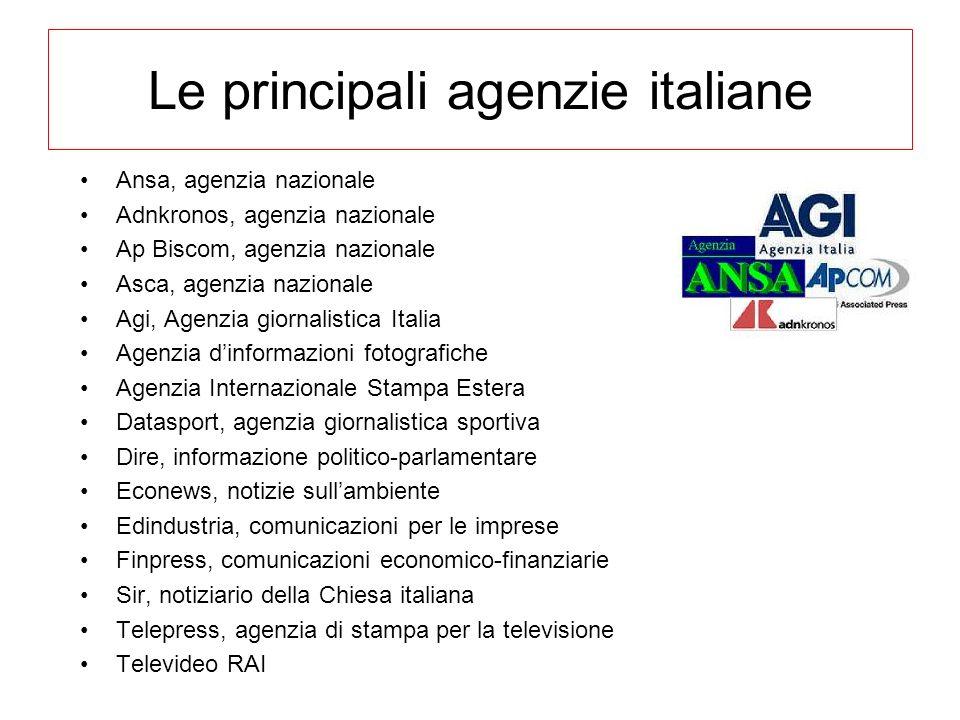 Le principali agenzie italiane