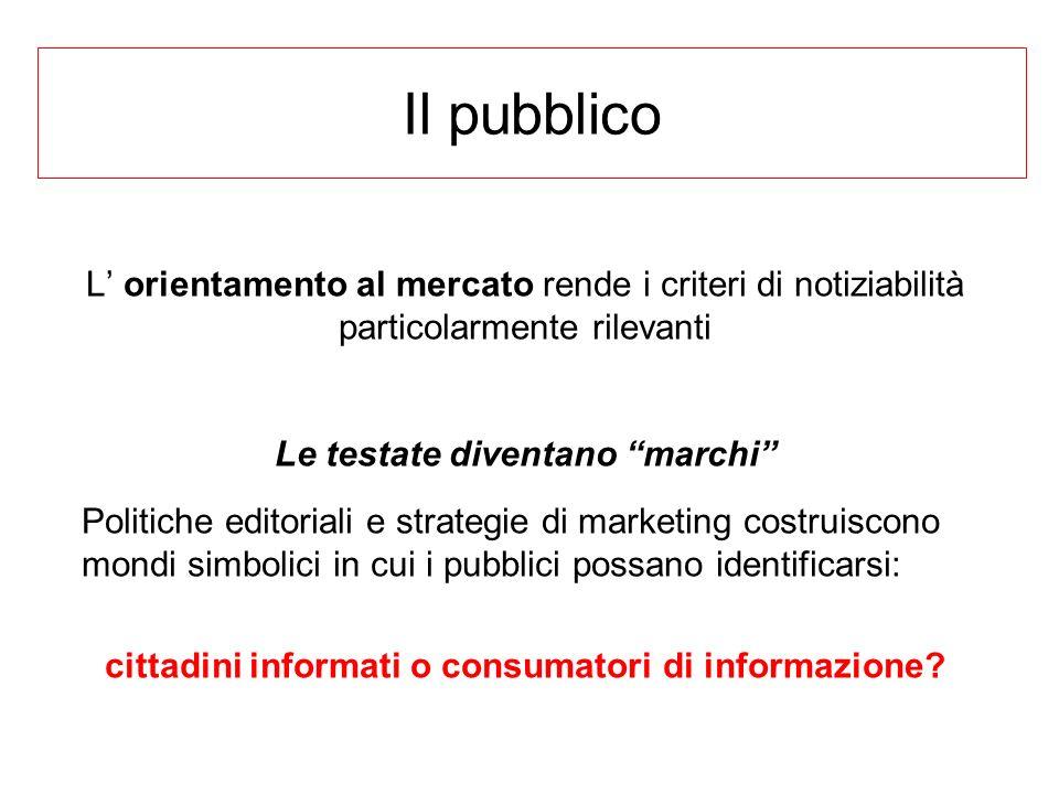 Il pubblico L' orientamento al mercato rende i criteri di notiziabilità particolarmente rilevanti. Le testate diventano marchi