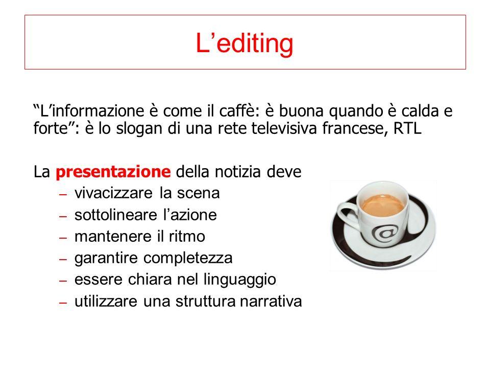 L'editing L'informazione è come il caffè: è buona quando è calda e forte : è lo slogan di una rete televisiva francese, RTL.
