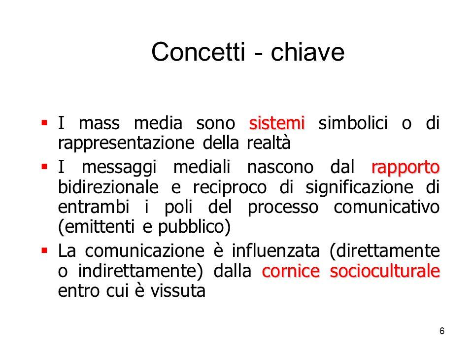 Concetti - chiave I mass media sono sistemi simbolici o di rappresentazione della realtà.