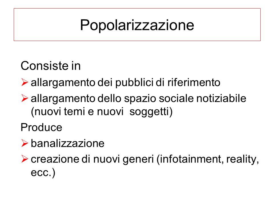 Popolarizzazione Consiste in allargamento dei pubblici di riferimento