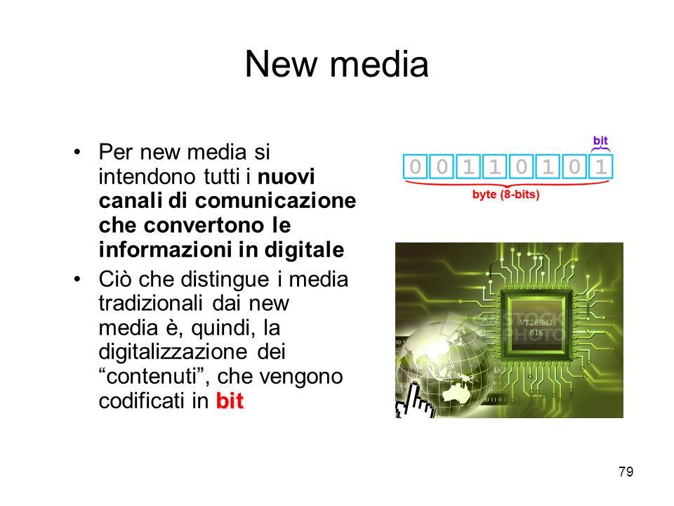 New media Per new media si intendono tutti i nuovi canali di comunicazione che convertono le informazioni in digitale.