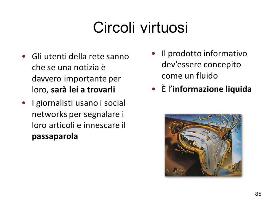 Circoli virtuosi Il prodotto informativo dev'essere concepito come un fluido. È l'informazione liquida.