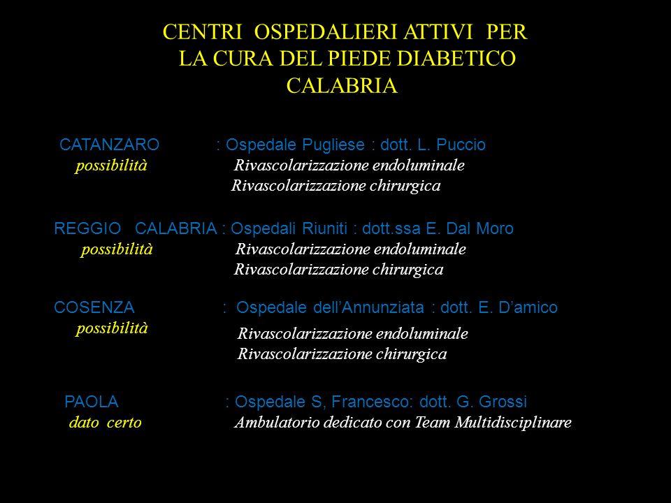 CENTRI OSPEDALIERI ATTIVI PER LA CURA DEL PIEDE DIABETICO CALABRIA