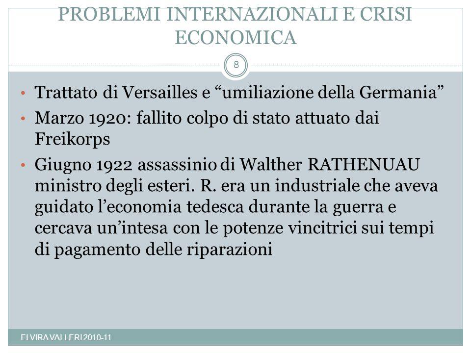 PROBLEMI INTERNAZIONALI E CRISI ECONOMICA