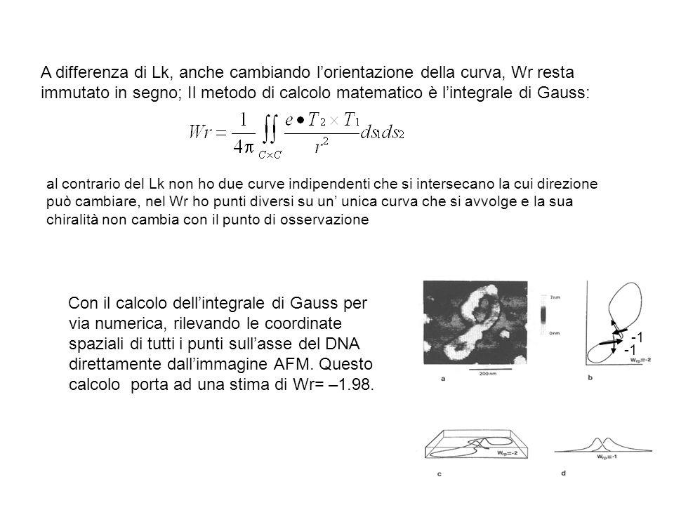 A differenza di Lk, anche cambiando l'orientazione della curva, Wr resta immutato in segno; Il metodo di calcolo matematico è l'integrale di Gauss: