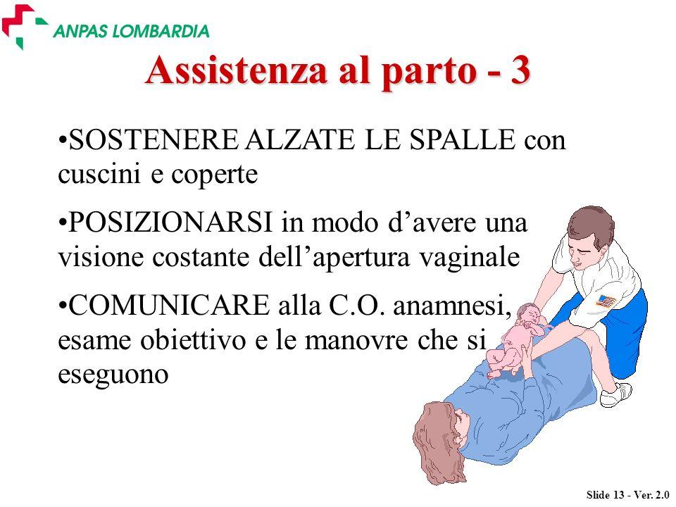 Assistenza al parto - 3 SOSTENERE ALZATE LE SPALLE con cuscini e coperte. POSIZIONARSI in modo d'avere una visione costante dell'apertura vaginale.