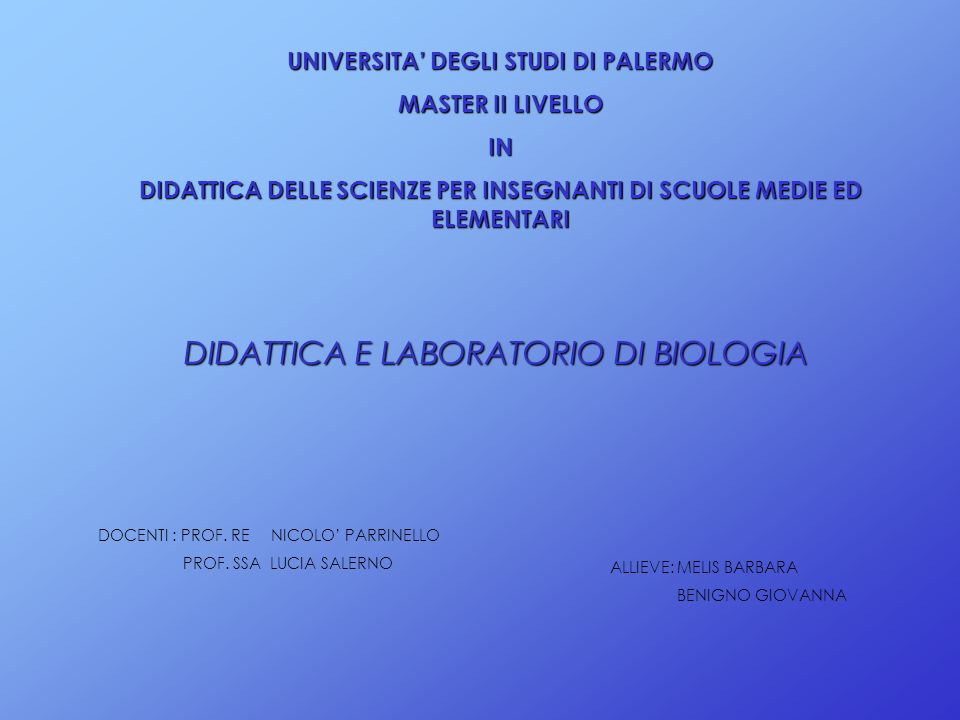 DIDATTICA E LABORATORIO DI BIOLOGIA