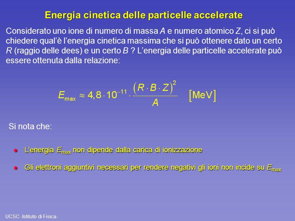 Energia cinetica delle particelle accelerate