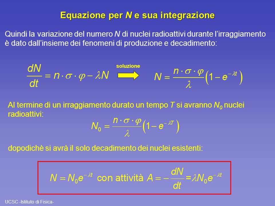 Equazione per N e sua integrazione